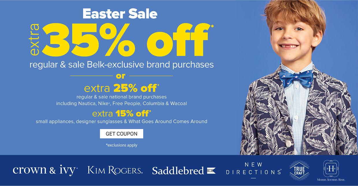 A little boy in a navy blue and white palm print suit jacket, a light blue and white button front shirt and a blue tie. Easter sale. Extra 35% off regular and sale Belk exclusive brand purchases or extra 25% off regular and sale national brand purchases including Nautica, Free people, Columbia and Wacoal, extra 15% off small appliances, designer sunglasses and what goes around comes around. Exclusions apply. Get coupon.