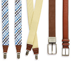 An assortment of suspenders & belts in a variety of colors & styles. Shop belts & suspenders.