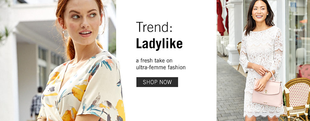 1c3351c3329 A woman wearing a multi colored floral print short sleeved wrap dress. A  woman wearing
