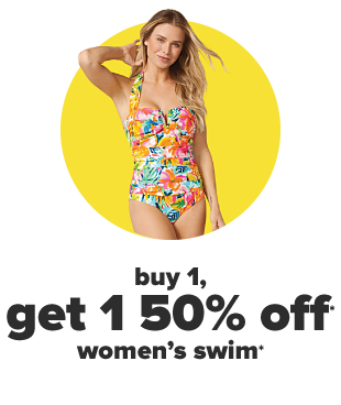 A woman in a tropical one piece swimsuit. Buy 1, get 1 50% off women's swim.