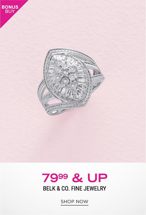 A diamond encrusted silver ring. Bonus Buy. $79.99 & up Belk & Co. fine jewelry. Shop now.