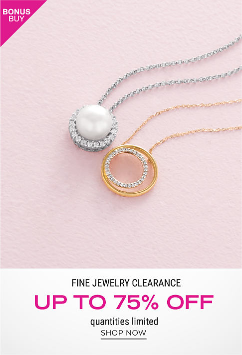 A diamond encrusted silver & pearl pendant necklace & a diamond encrusted gold pendant necklace. Bonus Buy. Fine Jewelry Clearance. Up to 75% off. Quantities limited. Shop now.