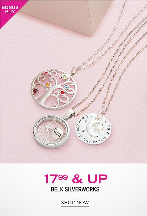 An assortment of charm necklaces. Bonus Buy. $17.99 & up Belk Silverworks. Shop now.