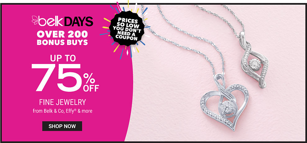 2 diamond encrusted silver pendant necklaces. Belk Days. Over 200 Bonus Buys. Prices So Low You Don't Need A Coupon. Up to 70% off fine jewelry from Belk & Co, Effy & more. Shop now.