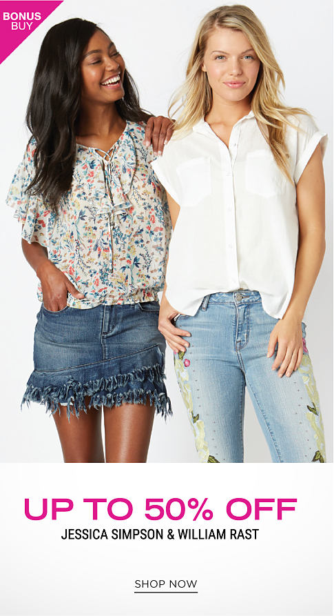 A young woman wearing a multi colored floral print short sleeved top & denim skirt standing next to a young woman wearing a white short sleeved blouse & blue jeans. Up to 50% off Jessica Simpson & William Rast. Shop now.