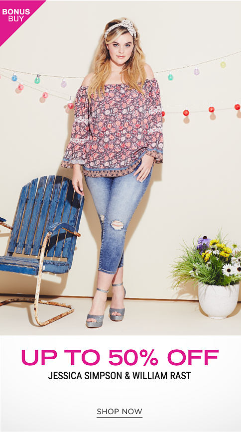 A young woman wearing a multi colored floral print long sleeved top, blue jeans & gray strappy sandals. Bonus Buy. Up to 50% off Jessica Simpson & William Rast. Shop now.