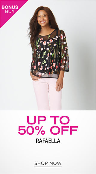 A woman wearing a multi colored floral print long sleeved top & white pants. Bonus Buy. Up to 50% off Rafaella. Shop now.