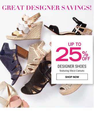Great Designer Savings! Up to 25% off Designer Shoes featuring Vince Camuto. Shop now.
