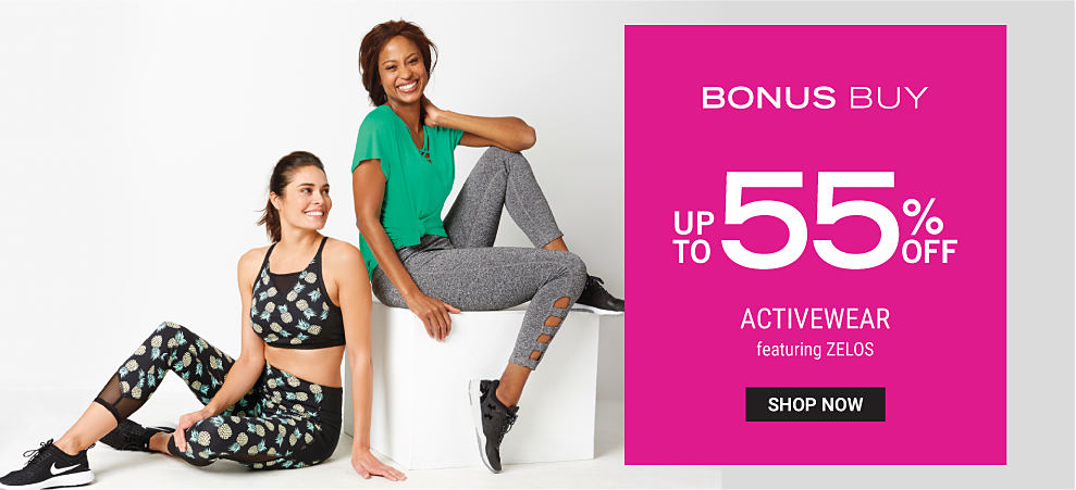 A woman wearing a black sports bra with a multi colored pineapple print, matching yoga pants & black & white sneakers. A woman wearing a green tee, gray yoga pants & black & white sneakers. Bonus Buy. Up to 55% off activewear featuring Zelos. Shop now. .