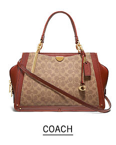 70494836ea3 A beige   burgundy colorblock handbag. Shop Coach.