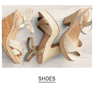 An assortment of women's wedge sandals in a variety of neutral colors & styles. Shop shoes.