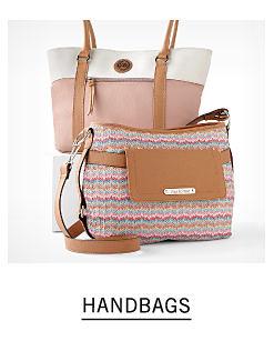 A white & peach colorblock tote & a multi colored handbag. Shop handbags.