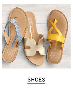 An assortment of women's sandals in a variety of colors & styles. Shop shoes.