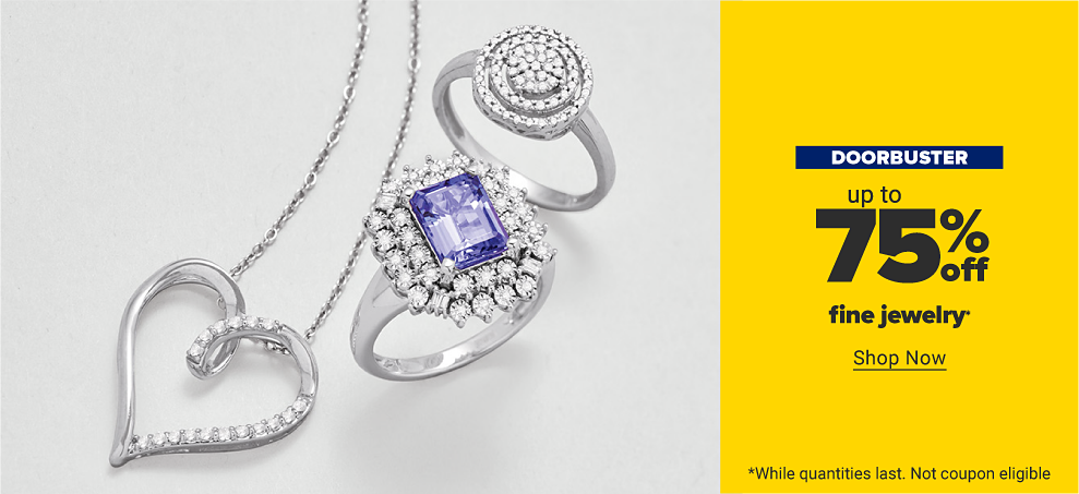 A silver heart pendant with clear gemstones. A silver ring with a circle of gemstones surrounded by two outer rings. A silver ring with a purple gemstone with two layers of clear gemstones surrounding it. Doorbuster. Up to 75% off fine jewelry. Shop now. While quantities last. Not coupon eligible.