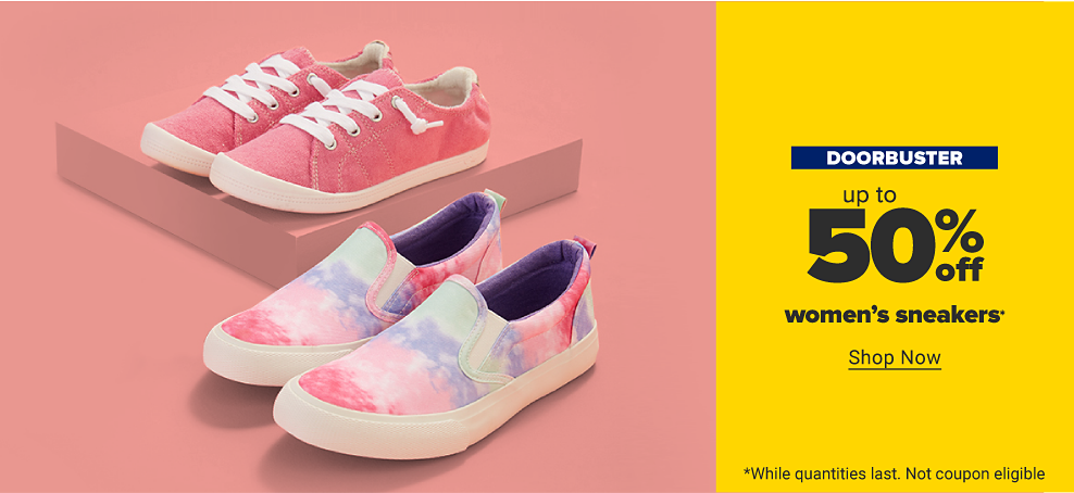 A pair of pink canvas sneakers. A pair of pink, purple and blue tie dye slip on canvas sneakers. Doorbuster. Up to 50% off women's sneakers. Shop now. While quantities last. Not coupon eligible.