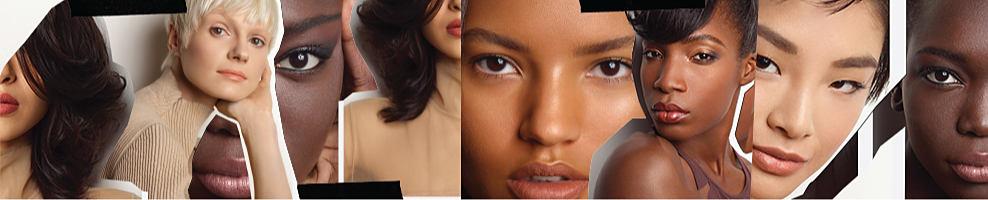 Women of various skin tones model MAC makeup, including a range of neutral lipsticks, lip pencils and Lipglass.