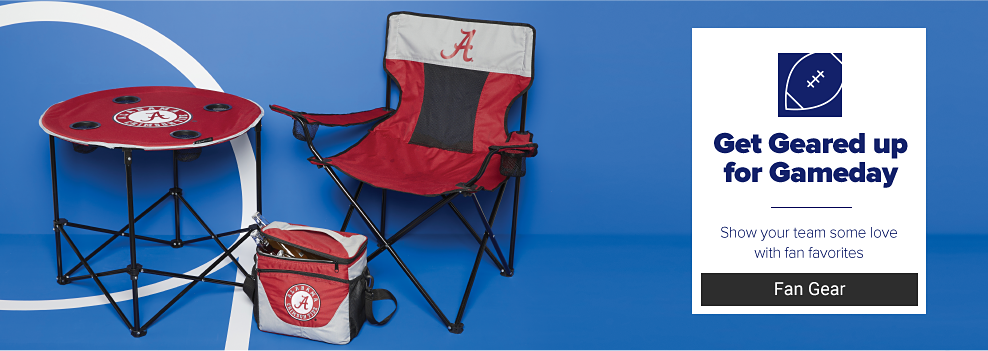 A University of Alabama collapsable table, folding chair and cooler. A navy blue football icon. Get geared up for gameday. Show your team some love with fan favorites. Fan gear.