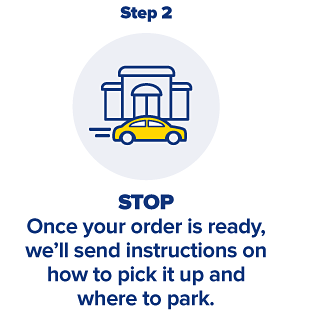Step 2, STOP, Once your order is ready, we'll send instructions on how to pick up and where to park.