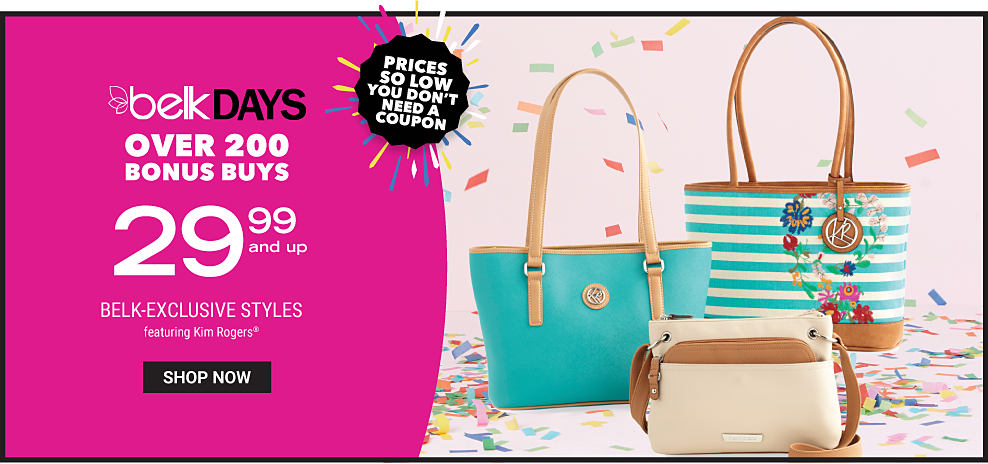 A teal leather bucket tote wqith brown leather straps & trim. A teal & white horizontal striped bucket tote with multi colored floral detail & brown leather straps & trim. A beige leather handbag with brown leather straps & trim. Belk Days. Over 200 Bonus Buys. $29.99 & up Belk exclusive styles featuring Kim Rogers. Shop now.