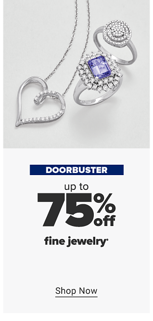 A silver necklace with a heart pendant, a silver double halo ring featuring white gemstones and a silver ring with a blue diamond gemstone. Doorbuster. Up to 75% off fine jewelry. Shop now.