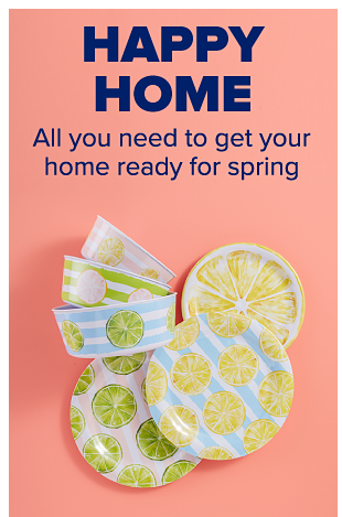 Melamine dinnerware featuring bright greens, yellows and blues through stripes and citrus-themed patterns. Three matching bowls. Happy Home. All you need to get your home ready for spring.