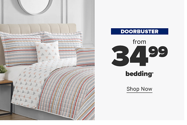 A reversible bedding set featuring a triangle pattern on one side and stripes on the other. Also includes matching pillow shams and coordinating throw pillows. Doorbuster. From 34.99 bedding. Shop now.