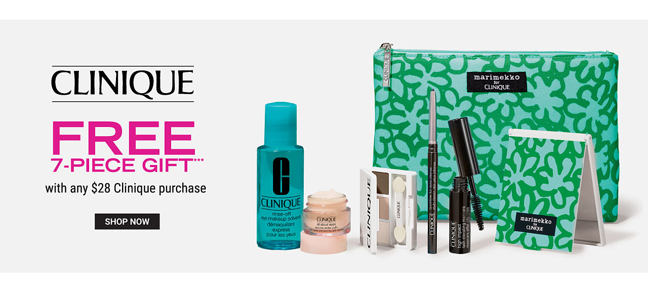An assortment of Clinique beauty products, a green & teal print zippered makeup bag & matching mirror. Clinique. Free 7 Piece Gift with any $28 Clinique purchase. While quantities last. Shop now.