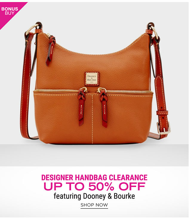 A brown leather handbag with gold metal hardware. Bonus Buy. Designer Handbag Clearance. Up to 50% off featuring Dooney & Bourke. Shop now.