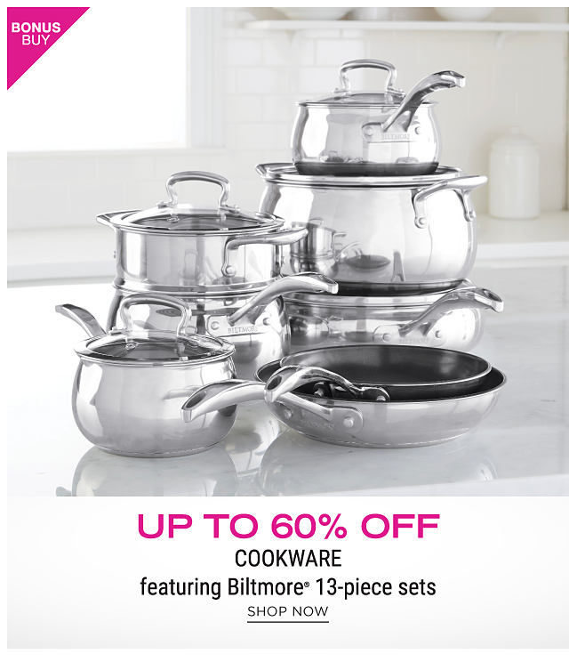 An assortment of mirrored silver metal non stick pots & pans. Bonus Buy. Up to 60% off cookware featuring Biltmore 13 piece sets. Shop now.