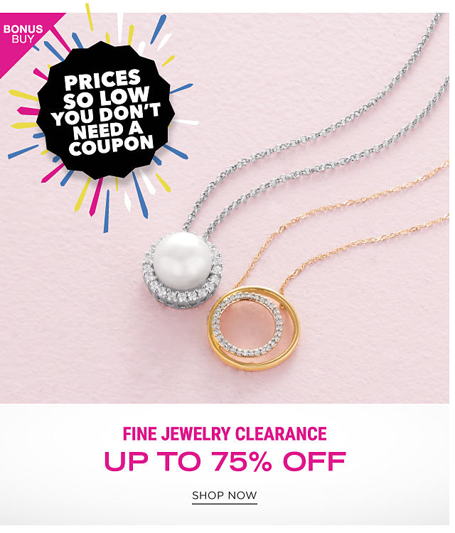 A diamond encrusted silver & pearl pendant necklace & a diamond encrusted gold pendant necklace. Bonus Buy. Prices So Low You Don't Need a Coupon. Fine Jewelry Clearance. Up to 75% off. Shop now.