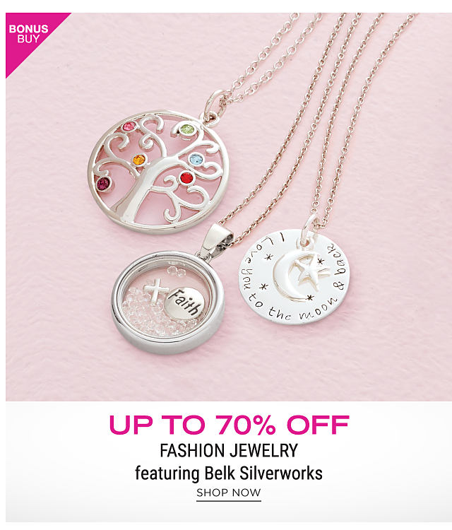 An assortment of silver charm necklaces. Bonus Buy. Up to 70% off fashion jewelry featuring Belk Silverworks. Shop now.