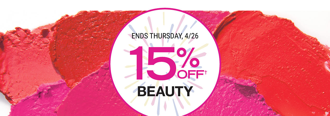 Red & fuchsia makeup smudges. Extra 15% off beauty. Ends Thursday, 4/26. Excludes Chanel online.