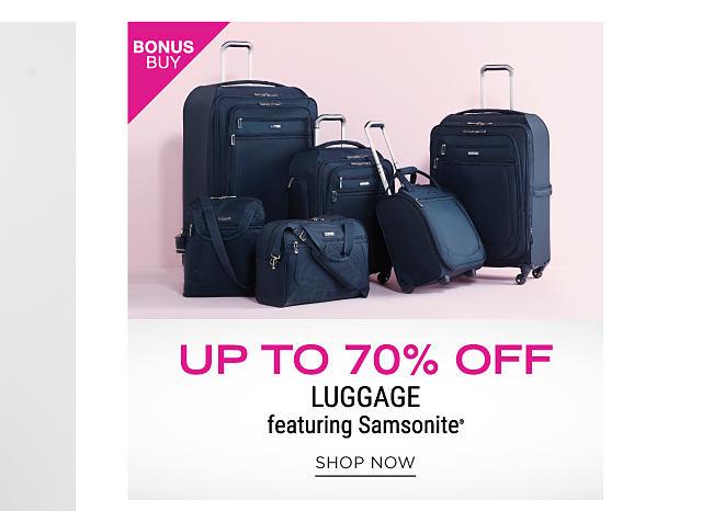 A black 6 piece luggage set. Bonus Buy. Up to 70% off luggage featuring Samsonite. Shop now.