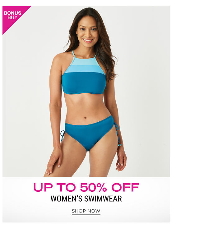 A woman wearing a blue & light blue swim top & blue swim bottoms. Bonus Buy. Up to 50% off women's swimwear. Shop now.
