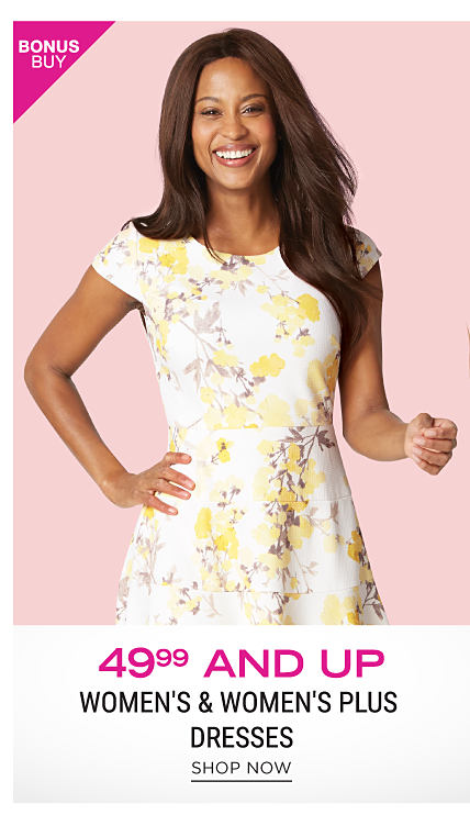 A woman wearing a whtie, yellow & brown floral print short sleeved dress. Bonus Buy. $49.99 & up women's & women's plus dresses. Shop now.