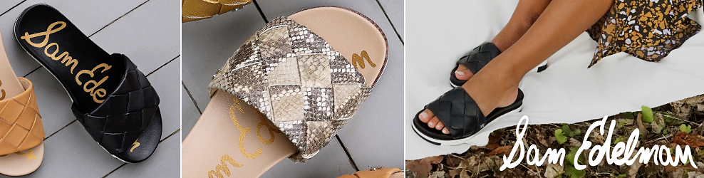 A brown leather sandal with a crosshatched pattern and a black leather sandal with a crosshatched pattern. A sandal with grey and beige snakeskin in a crosshatched pattern. A woman in a black, white and yellow midi skirt and black leather sandals with a crosshatched pattern. Sam Edelman.