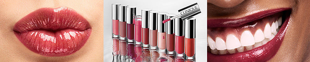 Glossy lips. A variety of lip glosses. A woman smiling wearing lipgloss. Clinique. Say it with a splash. Clinique Pop Splash. Lip gloss plus hydration drenches lips in weightless glass that's all shine, no stick. Lip loving ingredients help smooth and condition lips, plus provide immediate and long lasting moisturization for all day comfort. Shop now.