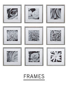 A collection of 9 picture frames. Shop frames.