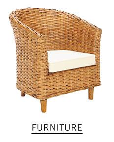 A wicker chair. Shop furniture.