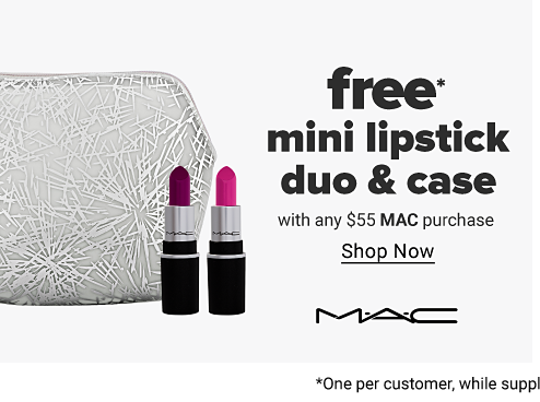 A silver makeup bag with a purple lipstick and a pink lipstick in front of it. Free mini lipstick duo and case with any $55 MAC purchase. Shop now. MAC.