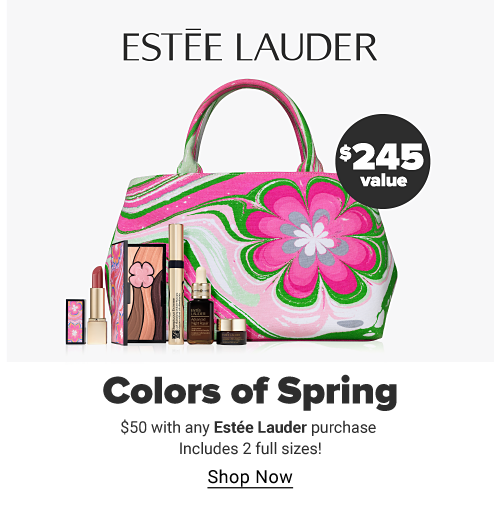 Estee Lauder. A green and pink makeup bag with a large flower design. A variety of skincare and makeup products. $245 value. Colors of Spring. $50 with any Estee Lauder purchase includes two full sizes! Shop now.