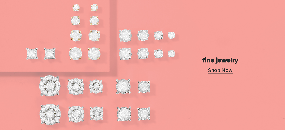 Fourteen pairs of diamond studs in various shapes and sizes. Fine jewelry. Shop now.
