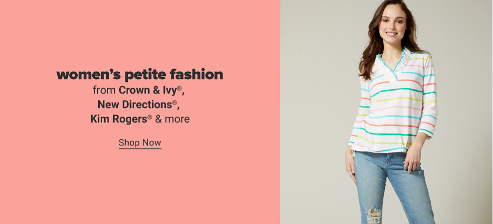 A woman in a three quarter length white shirt with a ruffle accent on the collar and multicolored horiztonal stripes. Women's petite fashion from Crown and Ivy, New Directions, Kim Rogers and more. Shop now.