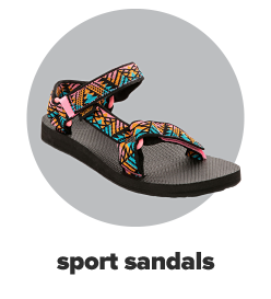 A sport or hiking sandal with a black sole and a fun pink, orange and teal pattern on the straps. Sport sandals.
