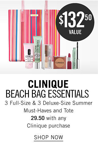A colorful stripe tote and a variety of Clinique beauty products. $132.50 value. Clinique