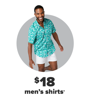 A man in a turquoise short sleeve button down and white shorts. $18 men's shirts.