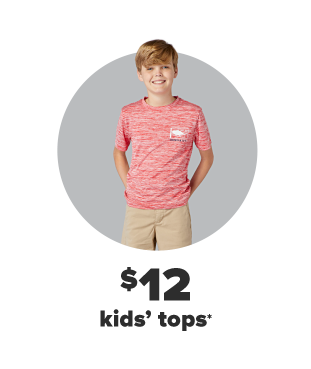 A little boy in a heathered red shirt and khaki shorts. $12 kids' tops.