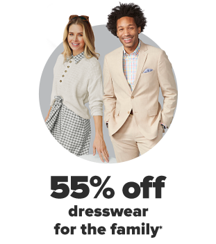 A woman in a black and white gingham dress with a cream colored sweater over top. A man in a cream colored suit with a white shirt underneath. 55% off dresswear for the family.
