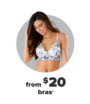 A woman in a blue and white floral bra. From $20 bras.
