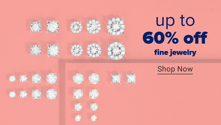 An assortment of diamond stud earrings in gold and silver. Up to 60% off fine jewelry. Shop now.